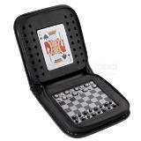 Juego de backgammon magnético con naipes en estuche de curpiel | Articulos Promocionales