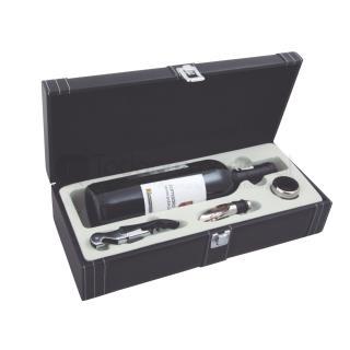 Set de accesorios para vino en estuche de curpiel   Articulos Promocionales