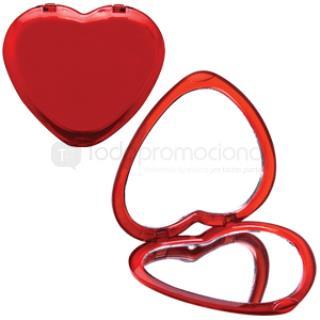 Espejo de Bolsillo Corazón rojo. | Articulos Promocionales